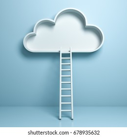 Cloud with ladder abstract concept on light blue pastel color background with reflection and shadow . 3D rendering.