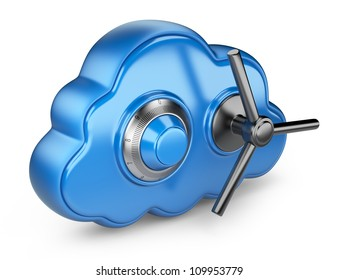 Cloud and lock. Secure concept. 3D Icon isolated