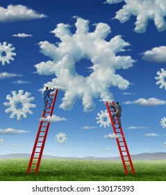 Cloud management business with a group of business people climbing red ladders to work on clouds shaped as a gear or cogs as a concept of a working team partnership with technology businessmen.