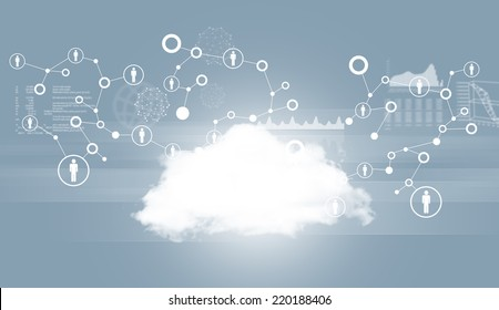 Cloud with network and graphs