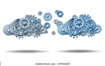 Cloud networking  information technology concept with two groups of connected gears and cog wheels transferring and exchanging data in a virtual database storage network on a white background.