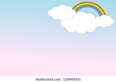 cloud with rainbow on the blue and sweet pink sky backgroud.