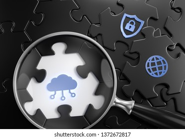 Cloud Search. Close-up composition of a magnifyer focusing on a digital cloud symbol surrounded by black colored jigsaw puzzle assembled from hexagonal parts. 3d rendering graphics.