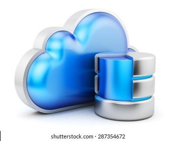 Cloud service concept, remote data storage icon isolated on white