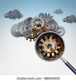 Cloud services problem as a group of gears and cogs shaped as clouds in the sky with a magnifying glass focusing on a rusted decaying part of the data storage machine as a 3D illustration.
