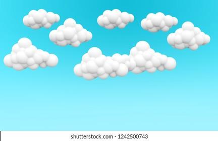 Cloud set. 3D blue sky. 3d illustration