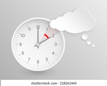 Cloud shaped speech bubble and clock with hands at 2 o'clock and an red arrow symbolizing the hour backward to 1 o'clock for the change of time in autumn, fall in  America on silver background.