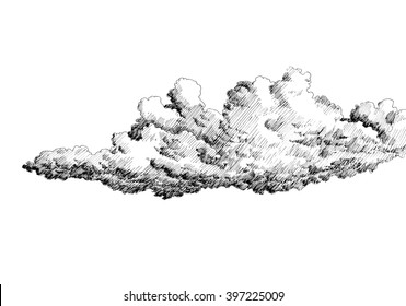Cloud in the sky. Black and white dashed style sketch, line art, drawing with pen and ink. Retro vintage picture.