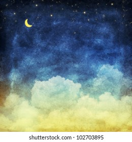 cloud and sky at night ,yellow and blue background