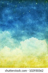cloud and sky on an old grunge paper