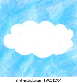 A cloud in the sky.Blue watercolor background for decoration or advertisement.