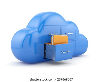 Cloud storage concept. Isolated on white background 3d illustration