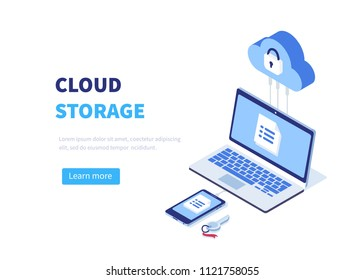 Cloud storage concept with pc, laptop, smarphone. Can use for web banner, infographics, hero images.  Line style Isometric illustration.