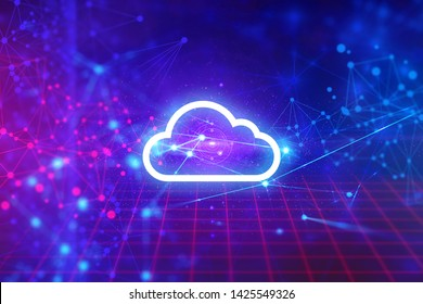 cloud storage icon robotic system, cell plexus atom science, abstract futuristic cyber network server online, ai technology, background illustration 3d rendering