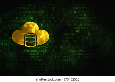 Cloud technology concept: Database With Cloud on digital background