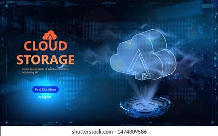 Cloud technology HUD style. Futuristic cloud computing, big data. Concept technology