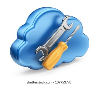 Cloud with tools. 3D Icon isolated on white background