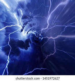 Cloud whirlpool and intense lightning in a storm concept