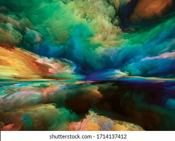 Clouds of Afterlife. Escape to Reality series. Design made of surreal sunset sunrise colors and textures to serve as backdrop for projects on landscape painting, imagination, creativity and art