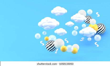 Clouds floating among colorful balls on a blue background. -3d render.