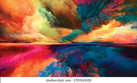 Clouds of Light. Escape to Reality series. Composition of surreal sunset sunrise colors and textures on theme of landscape painting, imagination, creativity and art