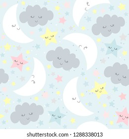 Clouds Moon Stars Baby Boy Girl Blue Pink yellow Background