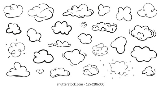 Clouds on isolation background. Doodles on white. Hand drawn line art. Black and white illustration. Sketches for artwork