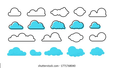 Clouds set. Trendy different flat clouds with grunge texture and outline blue shapes, modern meteorology symbols.  isolated symbol cloudscape heaven banners