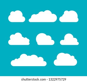Clouds silhouettes. set of clouds shapes. Collection of various forms and contours. Design elements for the weather forecast, web interface or cloud storage applications.