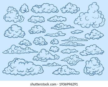 Clouds sketch. Decorative sky elements weather clouds cloudscape vintage style