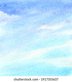 Clouds in the sky abstract light watercolor background