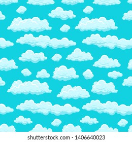 Clouds sky seamless pattern isolated on blue background for web site, label, banner, backdrop and wallpaper. Creative art concept.