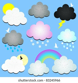 Clouds speech bubbles weather icons