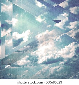 Clouds triangulation background. Geometry design. Paper textured