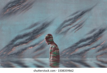 Cloudy lonely man in water with black cloudy sky, depression, loneliness, emotion, failure, hopeless, imagination, fantasy painting, surreal illustration