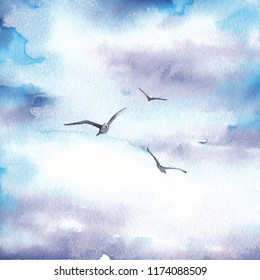 Cloudy sky with flying birds. Hand drawn watercolor