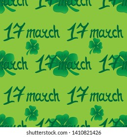 Clover and 17 march seamless pattern  illustration for web design raster copy