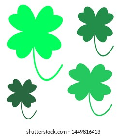 clover illustration of four colors and sizes