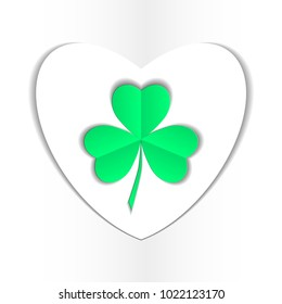 clover three leaf for saint patrick's day. Transparent objects used for shadows and lights drawing