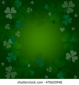 Clovers on a green  background.  Illustration for St. Patrick's day  posters, greeting cards, print and web projects.