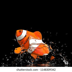 Clown fish jumped out of water red and white 3d rendering