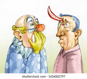 a clown look sorry the man in front of him because he stuck a smile on his forehead humorous pencil illustration