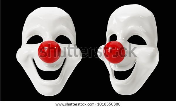 Clown Masks isolated on Black Background. 3D illustration