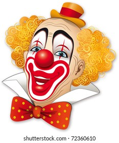 Clown with red hair on a white background