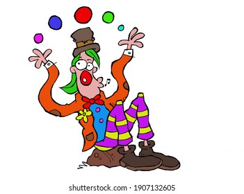 A clown sitting on a rock, plays with some colored balls.