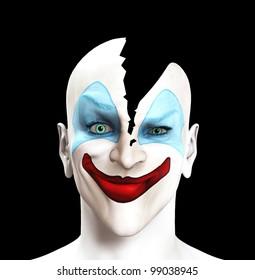 Clown whose head has split apart.