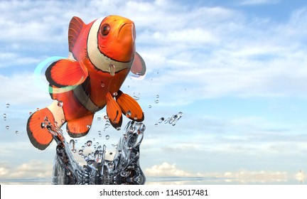Clownfish anemone fish close up photo in air with splash 3d rendering
