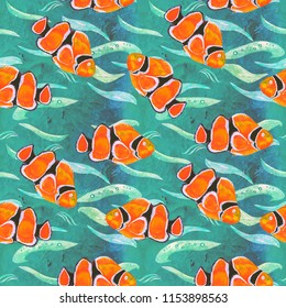 Clownfish (Anemonefish, Ocellaris clownfish, Amphiprion ocellaris), hand painted watercolor illustration, seamless pattern on turquoise ocean surface with waves
