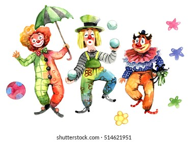 clowns, ball and umbrella, watercolor
