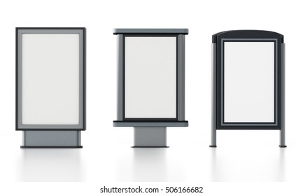 CLP City light poster stands isolated on white background. 3D illustration.